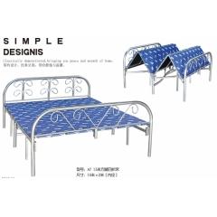 A7 1.5米方腿四折床 优乐娱乐折叠床 简易床 午休床 四折床 单人床 陪护床 铁艺床 单人床优乐娱乐 康达床业 卧室家具