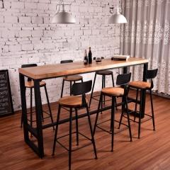 美式酒吧台铁艺实木吧台桌椅高脚酒吧桌 复古星巴克吧椅凳高脚椅