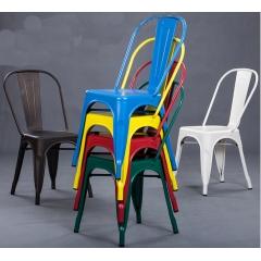 欧式铁艺椅子阳台椅子咖啡厅北欧椅凳户外家具金属餐椅铁皮椅优乐娱乐