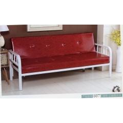 铁扶手折叠沙发床 名雅家具 07 红油皮