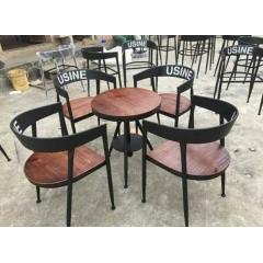 酒吧椅咖啡椅主题餐厅桌椅铁艺实木美式乡村复古铁艺餐椅