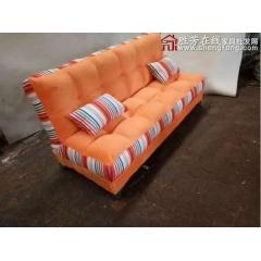 折叠沙发床 名雅家具  新面包床  橘色 优乐娱乐家具