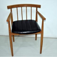 星威美式餐椅实木椅子肯尼迪总统椅北欧餐厅椅真皮圈椅电脑椅座椅