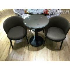 咖啡桌椅咖啡台接待桌椅洽谈桌椅布艺皮革软包椅定做一桌两椅