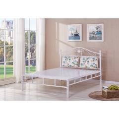 型号:318白双杠 优乐娱乐床铺优乐娱乐双人床 折叠双人床 铁艺双人床 双人板床 金属床 卧室家具 欧博瑞家具