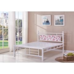 型号:316白双杠 优乐娱乐床铺优乐娱乐双人床 折叠双人床 铁艺双人床 双人板床 金属床 卧室家具 欧博瑞家具