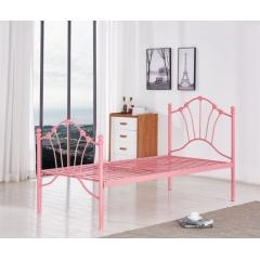 型号:411粉1米 优乐娱乐床铺优乐娱乐单人床 龙骨床 排骨床 铁艺床 钢架床 卧室家具 欧博瑞家具