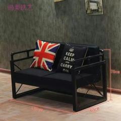 美式乡村沙发LOFT工业风铁艺沙发咖啡厅实木沙发酒吧卡座沙发组合铁艺卡座