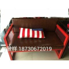 美式复古LOFT工业风铁艺沙发做旧咖啡厅酒吧桌椅卡座沙发组合
