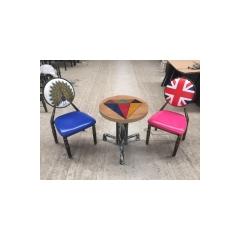 太阳椅子 复古餐桌椅 铁制餐椅 酒店椅批酒发软包椅仿木椅黄冠椅主题餐厅椅 中庆德家具优乐娱乐