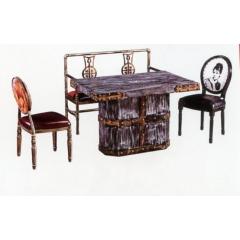优乐娱乐快餐桌椅 曲木椅 酒店家具  曲木餐桌椅  四连体餐桌椅  长宏家具优乐娱乐XC-006