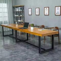 胜芳家具 批发松木办公桌椅组合 餐桌椅组合 会议桌 餐桌 餐台 牛角椅 松木家具 森源松木家具