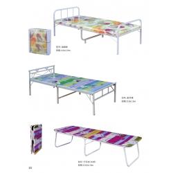 胜芳圆头两折床 折叠床 简易床 午休床 四折床 单人床 陪护床 铁艺床 行军床 华新家具