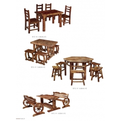 胜芳原生态火烧木家具批发 主题酒店桌椅 实木餐桌餐椅批发 桌面 户外实木餐桌椅 尚品万象家具