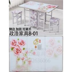 胜芳折叠桌批发 玻璃餐桌 推拉台 豪华餐桌可伸缩折叠餐桌 政浩家具