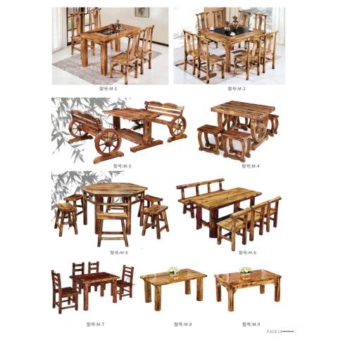 胜芳原生态火烧木家具批发 主题酒店桌椅 实木餐桌餐椅批发 桌面 户外实木餐桌椅 茂艺达家具