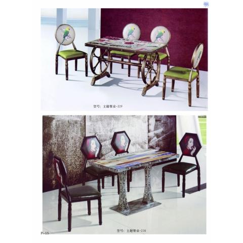 胜芳餐桌椅批发 复古式餐桌椅 实木餐桌椅 主题餐桌椅 转印餐桌椅 钢木家具 快餐桌椅 休闲家具 新鹏家具