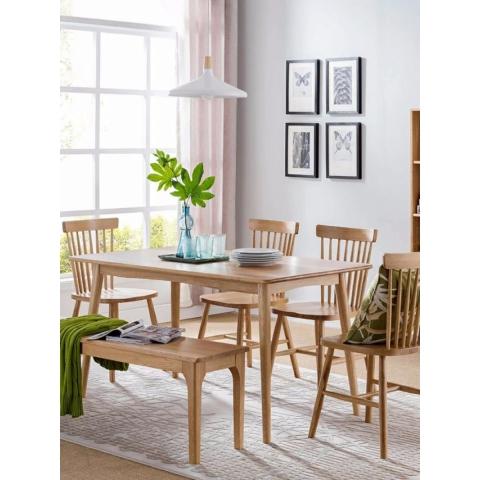 强大家具慧语家具,橡木餐桌餐椅原木色家居客厅,北欧系列,实木风格,温莎椅,路易斯椅
