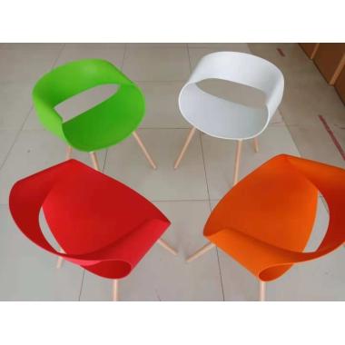 胜芳家具批发北欧个性时尚塑料椅子实木家用沙发餐椅扶手靠背现代简约无限椅兴东家具
