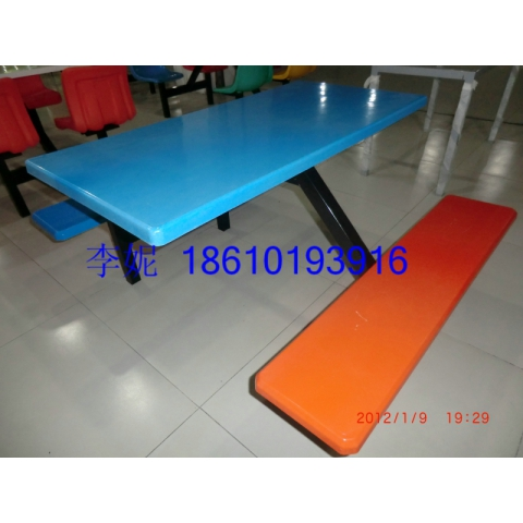 河北胜芳长条凳四连体餐桌椅