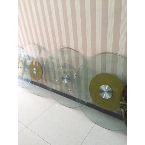 胜芳批发钢化玻璃转盘彩玻转盘车加餐台挖洞玻璃