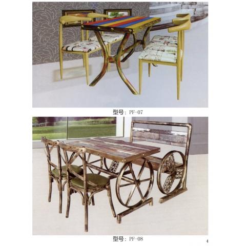 胜芳餐桌椅批发 复古式餐桌椅 主题餐桌椅 转印餐桌椅 钢木家具 快餐桌椅 休闲家具 会所家具 酒店家具 鹏飞家具