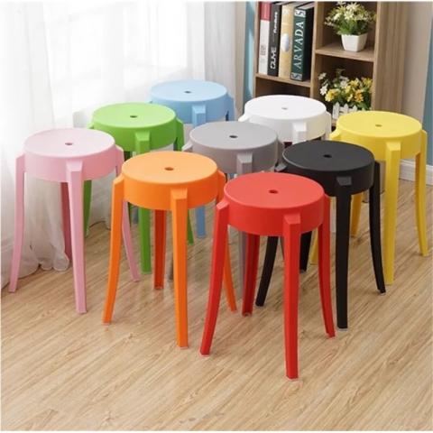 时尚创意彩色圆形塑料凳子成人高圆凳简约现代圆凳子客厅板凳椅子