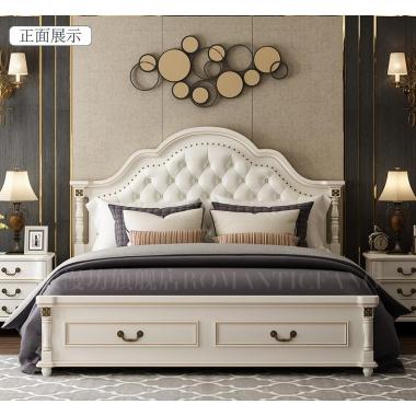 浪漫坊美式床欧式床双人床主卧现代简约婚床实木家具公主床1.8米