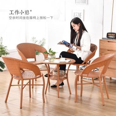 藤椅茶几三件套户外庭院休闲桌椅组合藤编PE藤椅子铁艺家具编织椅阳台客厅