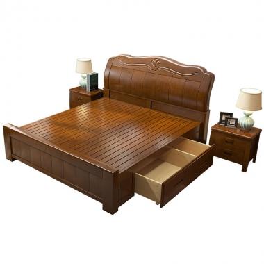 实木床中式现代简约双人床1.8米1.5米主卧室家具抽屉高箱储物婚床