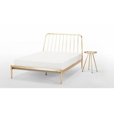 免费定制北欧简约电镀不锈钢床 金属骨架大床铁艺床家具卧室出口