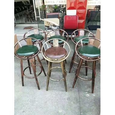 胜芳酒吧椅批发 酒吧台椅子 复古美式吧椅 高脚椅凳 KTV前台椅 高脚椅 吧台凳 理发椅 靠背酒吧椅 军发家具