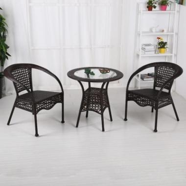 藤椅三件套 庭院花园阳台户外桌椅休闲组合家具椅子茶几五件套