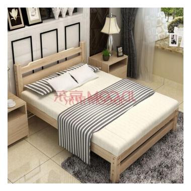 诗颜朵 实木床 单人床 双人床 松木床 欧式床 榻榻米床 家具 原木色环保无油漆满100减5
