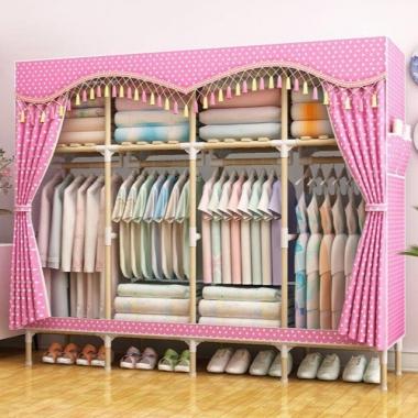 【包邮】组装简易衣柜实木单人布衣橱收纳架非钢架非塑料双人储物柜子家具