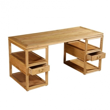新中式榆木简约免漆办公桌电脑桌书桌写字台书画桌椅组合书房家具