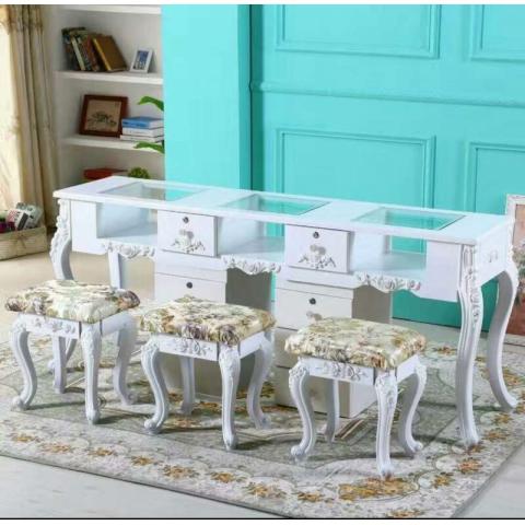 胜芳家具批发 美甲桌子 单人双人三人 特价 欧式美甲桌 烤漆新款 指甲桌美甲店桌 维嘉隆家具
