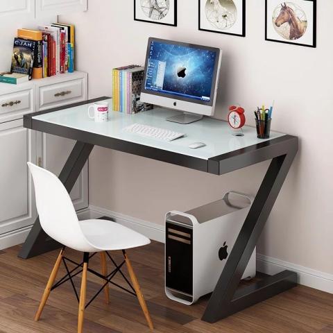 胜芳电脑桌批发 简约钢化玻璃电脑桌台式烤漆创意写字台 儿童学习桌 办公书桌