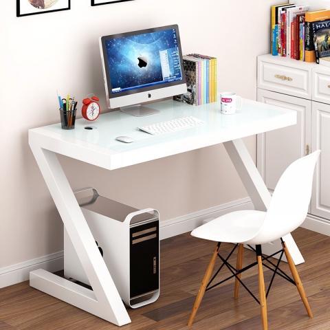 胜芳电脑桌批发 简约钢化玻璃电脑桌台式烤漆创意写字台儿童学习桌 办公书桌
