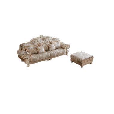 A01胜芳沙发批发 香河沙发 欧式沙发 L型转角贵妃组合 实木雕花沙发 雪尔尼面料 高密度海绵坐垫 圣珂蒂诗家具