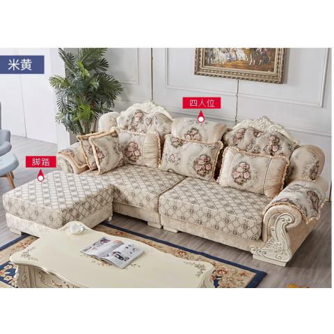 F01胜芳沙发批发 香河沙发 欧式沙发 L型转角贵妃组合 实木雕花沙发 雪尔尼面料 高密度海绵坐垫 圣珂蒂诗家具
