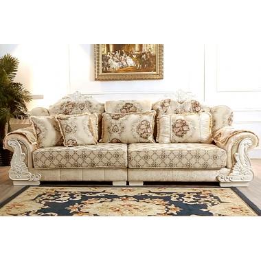 F03胜芳沙发批发 香河沙发 欧式沙发 L型转角贵妃组合 实木雕花沙发 雪尔尼面料 高密度海绵坐垫 圣珂蒂诗家具