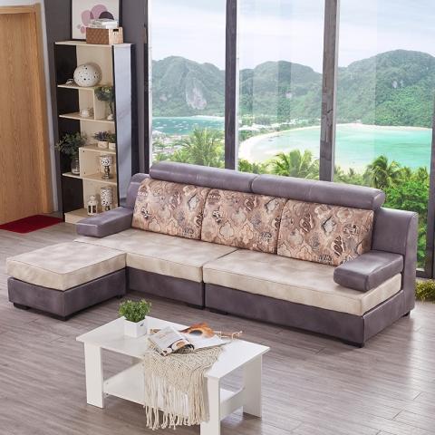 胜芳沙发批发 小户型布艺沙发组合科技布免洗沙发 四人位+脚踏组合 圣珂蒂诗家具