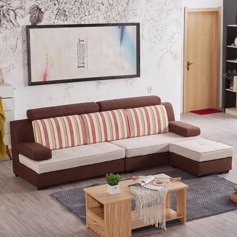 胜芳沙发批发 小户型布艺沙发组合 四人位+脚踏组合 圣珂蒂诗家具