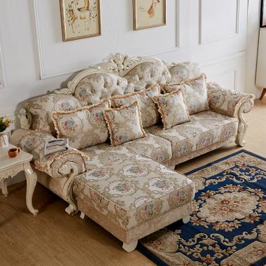 A03胜芳沙发批发 香河沙发 欧式沙发 L型转角贵妃组合 实木雕花沙发 雪尔尼面料 高密度海绵坐垫 圣珂蒂诗家具