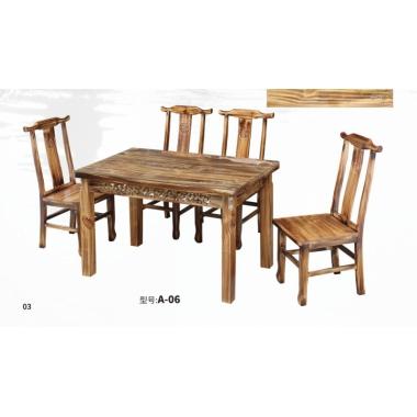 胜芳原生态火烧木家具批发 主题酒店桌椅 实木餐桌餐椅批发 桌面 户外实木餐桌椅 原生态酒店家具 酒店家具和合家具