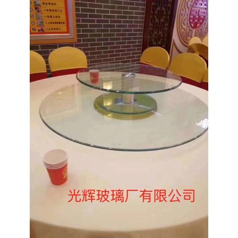胜芳批发钢化玻璃转盘加餐台挖洞玻璃转盘车彩玻转盘