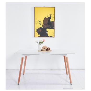 简约家用白色北欧丹麦现代实木家具写字小户型会议桌长方形餐桌子 标典家具