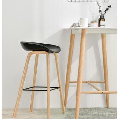 北欧吧台椅简约现代高脚凳实木创意酒吧吧椅休闲家用吧凳标向家具