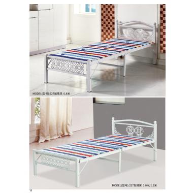 胜芳圆头两折床 折叠床 简易床 午休床 四折床 单人床 陪护床 铁艺床 竹板床 龙骨床 单人床批发 恒泰家具